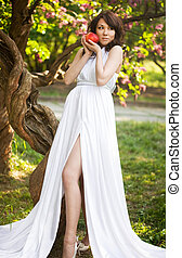 wonderful girl with red apple