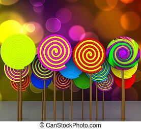 Candy - 3D - Colorful lollipops