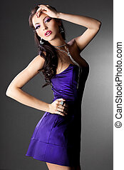 elegant fashionable woman with long hair