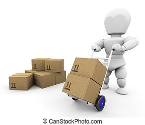 Moving boxes - 3D render of someone moving boxes