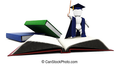 Education - 3D render of a lecturer with books