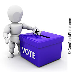 Voting - 3D render of someone voting
