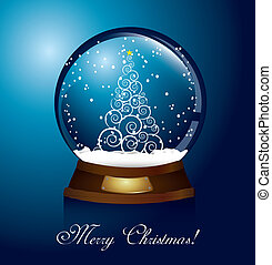 christmas globe with tree and snow vector illustration