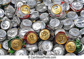 fundo, batido, Cerveja, latas