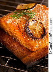 Grilled Salmon - Salmon fillet with lemon and sesame seeds...