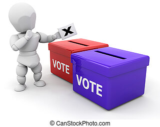 Decision time - 3D render of someone voting