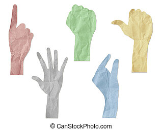 gesture hands recycled paper craft stick on white
