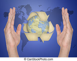 Paper recycling symbol on hand