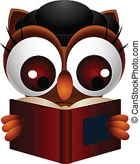 cute owl reading book