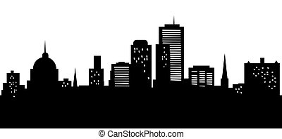 Cartoon Harrisburg Skyline - Cartoon skyline silhouette of...