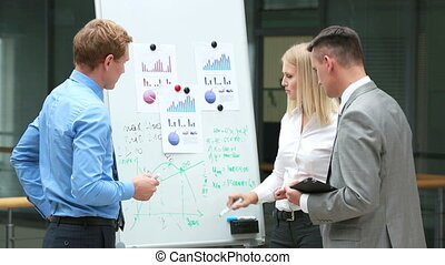 Expected results - Business team of three discussing the...