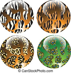 Animal patterns buttons