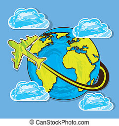 planet with airplane