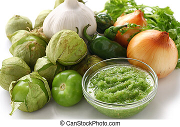 tomatillo salsa verde ingredients - mexican cuisine