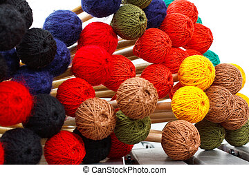 colorido, cabeças, Marimba, mallets
