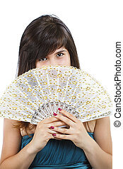 Girl with a fan - A beautiful girl with long straight brown...