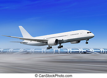 plane is landing in airport l - white passenger plane is...