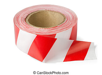 Barrier tape - Roll of red white barrier tape isolated on...
