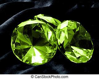 Emerald Jewel - A close up on a Emerald jewel on a dark...
