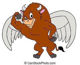 poderoso, búfalo, alas