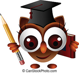 cute owl with pencil and book - vector illustration of cute...