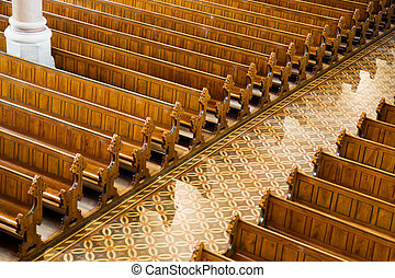 Rows of benches in a church