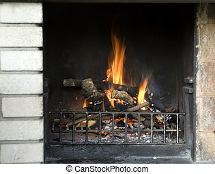 outdoor fireplace burning