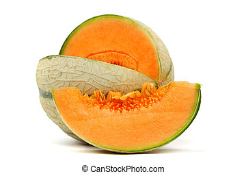 cantaloupe melone isolated on white