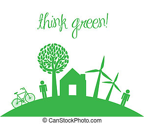 think green with icons of people and home. vector...