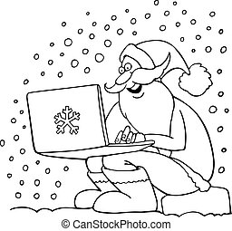 cartoon santa claus for coloring book - Cartoon Illustration...