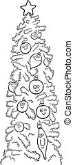 christmas tree for coloring book - Cartoon Illustration of...