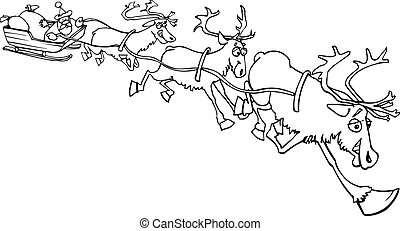 santa claus on sledge with reindeer