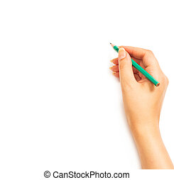 Woman's hand holding a pencil on a white white background