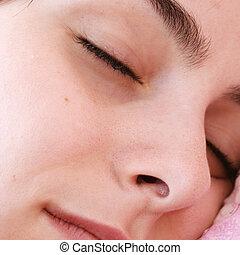 Beautiful young woman sleeping - Beautiful young woman...