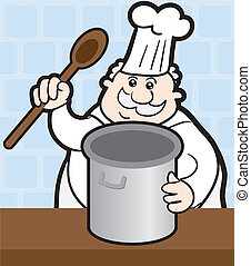 Chef with Pot - Chef cooking with large pot