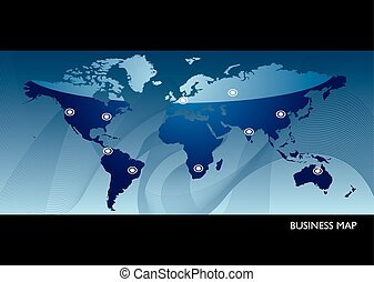 Business blue world map - Business map concept showing...