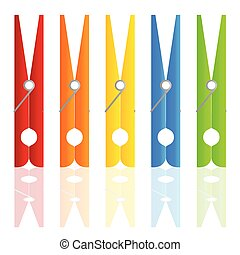 clothespin in color vector illustration on white background