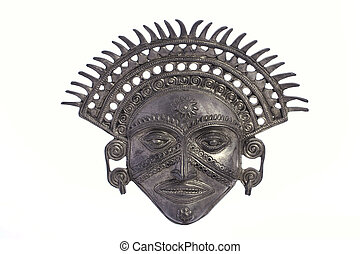 Metal inca Sun God Mask - Metal inca Sun God mask isolated...