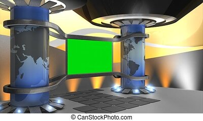 Virtual set, with green screen.