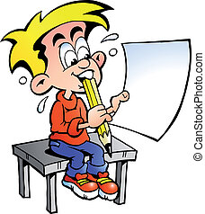 young school boy sitting at a desk - Hand-drawn Vector...