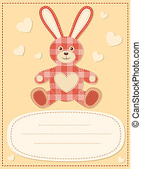 Card with the hare for baby shower 2