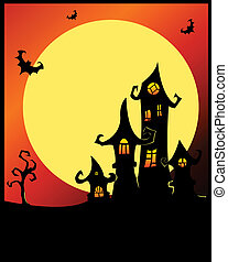 Terrible halloween castle Vector cartoon illustration