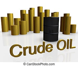 oil barrel - 3d illustration of oil barrel against pile of...