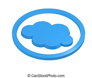 Cloud symbol in circular ring - Turquoise blue cloud symbol...