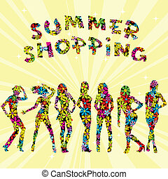 Summer shopping advertising with flowers patterned women silhouette