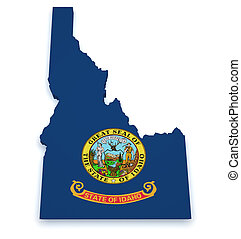 Idaho Map 3d Shape - Shape 3d of Idaho map with flag...
