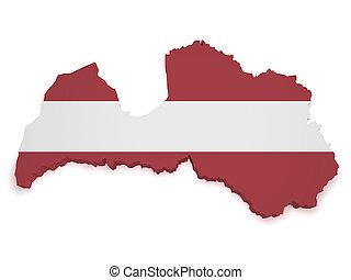 Latvia Map 3d Shape - Shape 3d of Latvia map with flag...