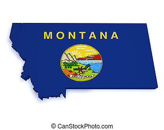 Montana Map 3d Shape - Shape 3d of Montana map with flag...