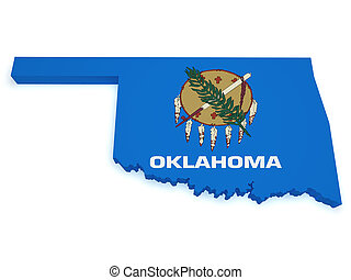 Oklahoma Map 3d Shape - Shape 3d of Oklahoma map with flag...