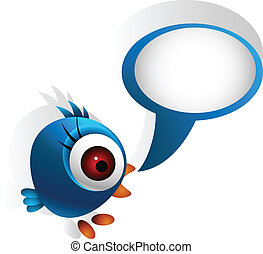 cute blue bird - vector illustration of cute blue bird